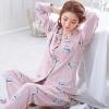 ชุดนอนผ้าฝ้ายพิมพ์ลาย เสื้อเชิ้ตติดกระดุมแขนยาว+กางเกงขายาว เอวยืด (XL,2XL,3XL) ON-6956