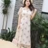 ชุดเดรสคอวี ผ้าโปร่งปักลายสวยหรู สีแอปริคอท (XL,2XL,3XL) DQ0103