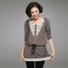 เสื้อยืดไซส์ใหญ่ ช่วงอกแต่งผ้าลูกไม้ เอวรูดผูกเชือก ชายเสื้อแต่งผ้าลูกไม้ (XL,2XL,3XL,4XL)