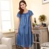 ชุดนอนไซส์ใหญ่ ผ้ามันลื่น สีฟ้า (L,XL,2XL,3XL,4XL)