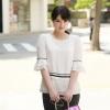 เสื้อชีฟอง คอกลม ไซส์ใหญ่ สีขาว สไตล์เกาหลี แต่งพู่ตรงชายเสื้อ สวยแปลกตาไม่เหมือนใคร (L,XL,5XL) A-11163