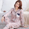 ชุดนอนผ้าฝ้ายพิมพ์ลายการ์ตูน เสื้อเชิ้ตติดกระดุมแขนยาวแต่งแถบข้าง+กางเกงขายาว เอวยืด (M,L,XL,2XL,3XL) ON-6981