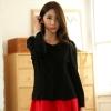 แจ็คเก็ตกระดุมแถวเดียว สีดำ คอเสื้อแต่งดอกไม้ แขนยาว (XL,2XL,3XL)