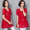 เสื้อชีฟองแฟชั่นสาวอวบ สีชมพู/สีแดง/สีน้ำเงิน/สีกรมท่า/สีดำ (L,XL,2XL,3XL,4XL,5XL,6XL) HY-8701