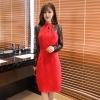 ชุดเดรสแฟชั่น ชุดราตรี แขนยาว สีแดง/สีดำ (F,XL,2XL,3XL) JK-9968