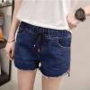 กางเกงยีนส์ขาสั้น แต่งปลายขา เอวยางยืด สีน้ำเงิน/สีดำ (XL,2XL,3XL,4XL) NV-17161