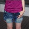 กางเกงยีนส์ขาสั้น ปักลายกระเป๋าหลัง สียีนส์ (L,XL,2XL,3XL,4XL)