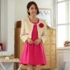 ชุดเซ็ทไซส์ใหญ่ 2 ชิ้น เสื้อคลุม+เดรส (เสื้อสีแดง/เสื้อสีเบจ) [XL,2XL,3XL] JK-93839