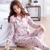 ชุดนอนผ้าฝ้ายพิมพ์ลายการ์ตูน เสื้อเชิ้ตติดกระดุมแขนยาว+กางเกงขายาว เอวยืด (M,L,XL,2XL,3XL) ON-6988