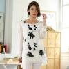 เสื้อชีฟองไซส์ใหญ่ สีขาว ปักลายดอกไม้สวย แขนยาว ชายเสื้อเลเยอร์ (XL,2XL,3XL)