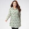 เสื้อเชิ้ตผ้าลินินแขนยาวไซส์ใหญ่ สีเขียวพิมพ์ลาย (XL,2XL,3XL,4XL,5XL)
