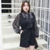 ชุดเซ็ทสีดำ 3 ชิ้น เสื้อชีฟอง+เสื้อสายเดี่ยว+เอี๊ยมขาสั้น (XL,2XL,3XL,4XL) ZX6571