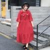 ♥พร้อมส่ง♥ ชุดแม็กซี่เดรสสีแดงลายจุด เอวยางยืด แขนกระดิ่ง (2XL อก 44)