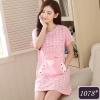 ชุดนอนกระโปรงผ้าฝ้ายสีชมพูลายก้อนเมฆ มีกระเป๋าหน้าลายกระต่ายสุดน่ารัก (M,L,XL,2XL,3XL,4XL) #1078