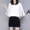 ชุดเซ็ทสีขาวไซส์ใหญ่ เสื้อชีฟองสีขาว คอวี แขนสามส่วนปลายแขนกระดิ่ง+กางเกงขาสั้นสีดำ เอวยางยืด (XL,2XL,3XL,4XL) KJ-8206