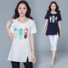 เสื้อยืดคอกลม สีกรมท่า/สีขาว (M,L,XL,2XL,3XL,4XL) HY-1087