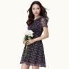 เดรสผ้าชีฟองลายดอกไซส์ใหญ่ แขนสั้น (XL,2XL,3XL,4XL)