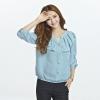 เสื้อชีฟองบาง คอวีแต่งระบาย สีบานเย็น/สีฟ้าน้ำทะเล (XL,2XL,3XL,4XL,5XL)