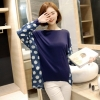 เสื้อยืดลำลองไซส์ใหญ่ แขนค้างคาว สีน้ำเงิน/สีเทา (XL,2XL,3XL,4XL)