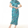 ชุดกี่เพ้ายาว คอจีน สีฟ้าลายดอกไม้ (S,M,L,XL,2XL,3XL) J0026