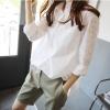 เสื้อเชิ้ตสีขาว แขนลายลูกไม้ (S - 5XL) 8186#