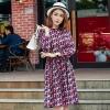 เดรสแฟชั่นผ้าชีฟองพิมพ์ลายสไตล์เกาหลี เอวรูดผูกเชือก แขนยาว (XL,2XL,3XL,4XL,5XL) E3326