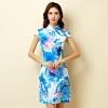 ชุดกี่เพ้าสั้นผ้าซาตินยืดไซส์ใหญ่ คอจีน กระดุมจีน แขนในตัว สีฟ้าลาย (XL,2XL,3XL)