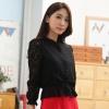 เสื้อคลุมแขนยาว ผ้าลูกไม้เกาหลี ติดกระดุม สีดำ/สีแอปริคอท(สีเบจ) (XL,2XL,3XL,4XL)