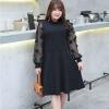 ชุดเดรสผ้าไหมทวิสสีดำ แขนเสื้อชีฟองบางแต่งดอกไม้น่ารัก (XL,2XL,3XL) Ai-2721