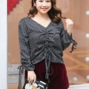 ♥พร้อมส่ง♥ เสื้อชีฟองสีดำลายจุดไซส์ใหญ่น่ารัก คอวี แขนยาว (3XL) QS~855
