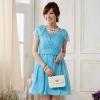 ชุดกระโปรงทรงบอลลูนสำหรับเพื่อนเจ้าสาว สีแชมเปญอมชมพู/สีฟ้า (XL,2XL,3XL)