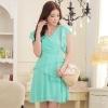 เดรสชีฟอง คอวี สีส้ม/สีฟ้า/สีชมพู (XL,2XL) JK-9209