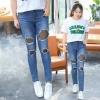 กางเกงแฟชั่นยีนส์ขาดๆ สีฟ้ายีนส์ (XL,3XL,4XL,5XL) ZX-0312