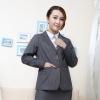 เสื้อสูทผู้หญิงทำงานไซส์ใหญ่สีเทาปกเทเลอร์แขนยาวติดกระดุมสองเม็ด (3XL,4XL,5XL,6XL,7XL,8XL,9XL) TX-23G