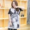 เสื้อยืดตัวยาวพิมพ์ลายหญิงสาวสไตล์คลาสสิก+พิมพ์ตัวอักษร คอกลม แขนสั้น ด้านหลังสีดำ (XL,2XL,3XL4XL)