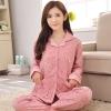 ชุดนอนผ้าฝ้ายไซส์ใหญ่ แขนยาว-ขายาว ปกเชิ้ต สีชมพูพิมพ์ลายการ์ตูน (XL,2XL,3XL)