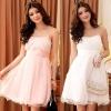 ชุดราตรีซาตินผ้าโปร่ง สีชมพู/สีขาว/สีแชมเปญ (XL,2XL,3XL) JK-3213