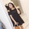 ♥พร้อมส่ง♥ ชุดเดรสสีดำสำหรับสาวอวบ เว้าไหล่ แขนสั้น (5XL) LYX7389(B)