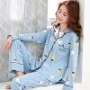 ชุดนอนผ้าฝ้ายสีตามภาพลายผลไม้ เสื้อเชิ้ตติดกระดุมแขนยาว+กางเกงขายาว เอวยืด (M,L,XL,2XL,3XL) ON-6931