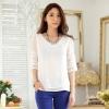 เสื้อชีฟองไซส์ใหญ่ สีขาว แขนสามส่วน ผ้าเนื้อนิ่มใส่สบาย (XL,2XL,3XL) JK-9737