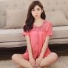 ชุดนอนผ้าฝ้ายสีแดงแตงโม แขนสั้น ขาสั้น (M,L,XL,2XL,3XL,4XL) Yi-011