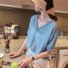 เสื้อแฟชั่น คอวี แขนสั้น กุ๊นลูกไม้สวยหวาน สีขาว/สีเหลือง/สีฟ้าเข้ม (M,L,XL,2XL,3XL,4XL) #7010