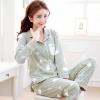 ชุดนอนผ้าฝ้ายลายการ์ตูน เสื้อเชิ้ตติดกระดุมแขนยาว+กางเกงขายาว เอวยืด (XL,3XL) ON-6983