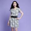 เดรสผ้าฝ้ายพิมพ์ลาย แขนสั้นในตัว สีขาว/สีดำ (XL,2XL,3XL,4XL)