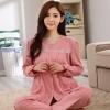 ชุดนอนผ้าฝ้ายไซส์ใหญ่ คอกลม ติดกระดุม แขนยาว-ขายาว สีชมพูเข้ม (XL,2XL,3XL)