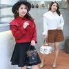 เสื้อชีฟองซาตินกำมะหยี่สำหรับสาวอวบ สีขาว/สีดำ/สีเบอร์กันดี (XL,2XL,3XL,4XL) ZX1025
