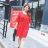 ชุดเดรสชีฟองไซส์ใหญ่ สีแดง (1XL,2XL,3XL) ZX0179