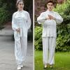 ชุดรำมวยจีน Tai Chi เซ็ท 2 ชิ้น เสื้อผ้าซาตินแขนยาว+กางเกงซาตินขายาว เอวยางยืด ปลายขาใส่ยางยืด (XXS,XS,S,M,L,XL,2XL,3XL)