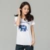 เสื้อยืดผ้าฝ้ายพิมพ์ลายกลางอกไซส์ใหญ่แฟชั่นเกาหลี สีขาว (XL,3XL,4XL)
