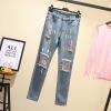 กางเกงยีนส์ไซส์ใหญ่ ทรงหลวม แต่งขาด (XL,2XL,3XL,4XL,5XL) KJX0221#